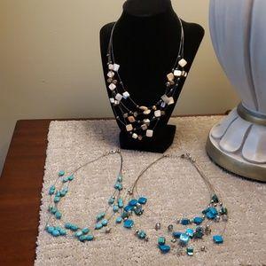 Bundle of Necklaces Cream, Tourquoise & Teal